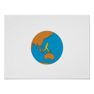 Marathon Runner Running Around World Asia Pacific Poster