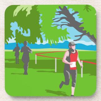 Marathon Runner Running WPA Beverage Coaster