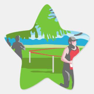 Marathon Runner Running WPA Star Sticker