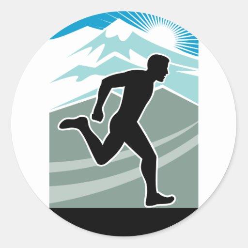 marathon runner silhouette running round stickers