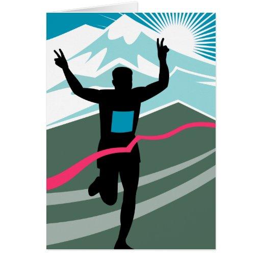 marathon runner silhouette running triahlon cards