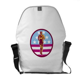 Marathon Runner USA Flag Circle Woodcut Courier Bags