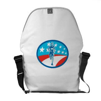Marathon Runner USA Flag Oval Woodcut Messenger Bag