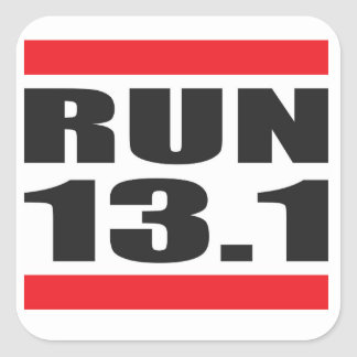 Maratón 13,1 pegatina cuadrada
