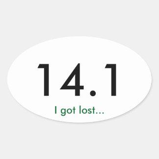 Maratón 14,1 pegatina ovalada