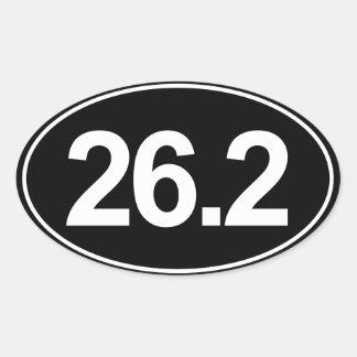 Maratón 26,2 millas de pegatina oval (negro)