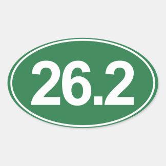 Maratón 26,2 millas de pegatina oval (verde)