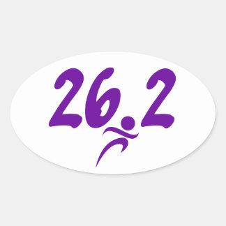 Maratón de la púrpura 26,2 pegatina ovalada