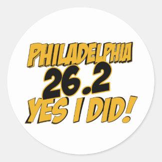 Maratón de Philadelphia Pegatina Redonda