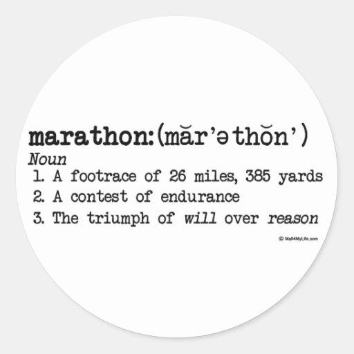 Maratón Defnition Pegatina Redonda