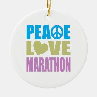 Maratón del amor de la paz adorno navideño redondo de cerámica