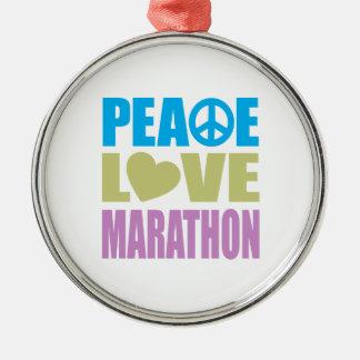 Maratón del amor de la paz adorno navideño redondo de metal