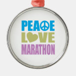 Maratón del amor de la paz ornamento para arbol de navidad