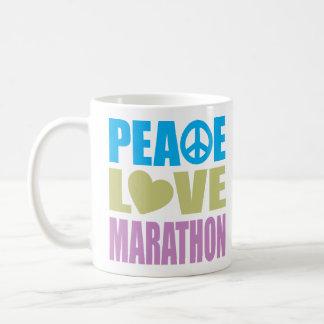 Maratón del amor de la paz taza de café
