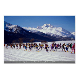 Maratón del esquí de Engadin, Silvaplana, Suiza Póster