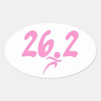 Maratón del rosa 26 2 pegatina óval