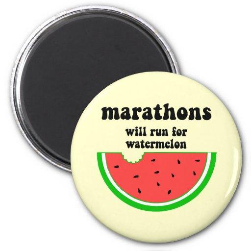 Maratón divertido de la sandía imanes para frigoríficos