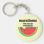 Maratón divertido de la sandía llaveros