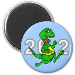 Maratón divertido del dinosaurio imán para frigorifico