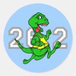 Maratón divertido del dinosaurio pegatinas redondas