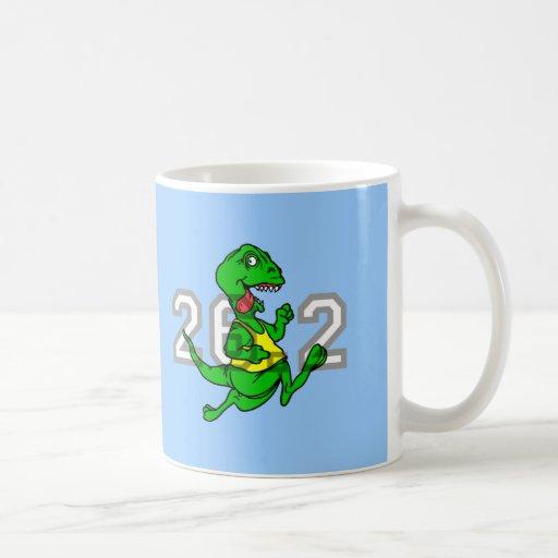 Maratón divertido del dinosaurio taza