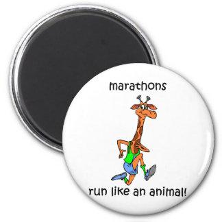 Maratón lindo y divertido imanes de nevera
