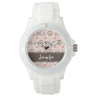 Maratón personalizado del amor 26,2 de la paz reloj de mano