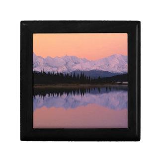 Maravilla Alaska de la salida del sol de Denali de Joyero Cuadrado Pequeño