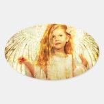 Maravilla angelical pegatina ovalada