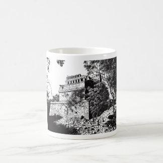 Maravilla antigua blanco y negro taza básica blanca