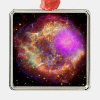 Maravilla astronómica adorno navideño cuadrado de metal