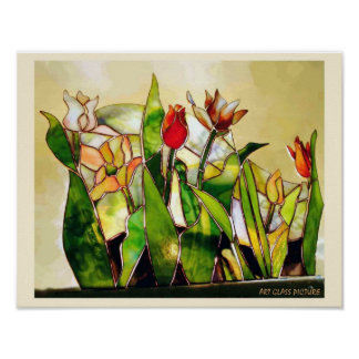Maravilla de tierra del tulipán de cristal del póster