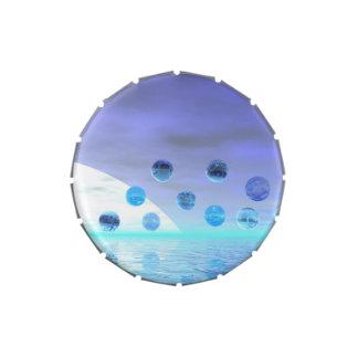 Maravilla del claro de luna, viaje abstracto al de latas de caramelos