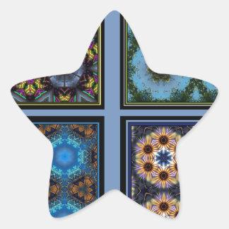 Maravilla del collage del caleidoscopio pegatina en forma de estrella