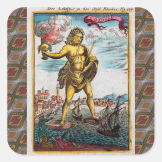 Maravillas del mundo antiguo calcomania cuadradas personalizada