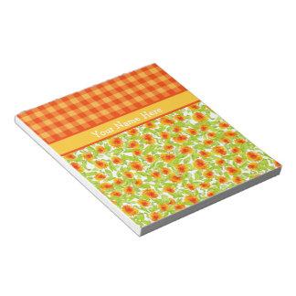 Maravillas y libreta anaranjadas de la guinga del libreta para notas