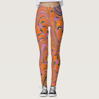 MARBELIZED FANTASY WITH FIREFLIES LEGGINGS