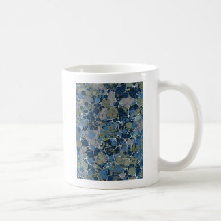 Marbelized Pattern in Shades of Blue and Tan Coffee Mug