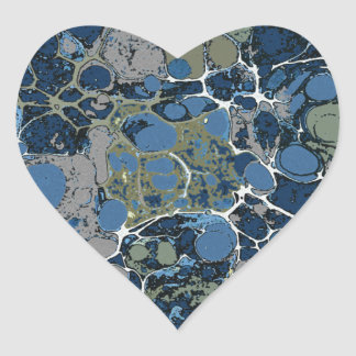 Marbelized Pattern in Shades of Blue and Tan Heart Sticker