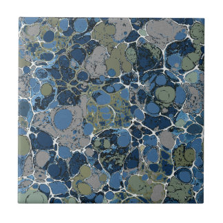 Marbelized Pattern in Shades of Blue and Tan Tile