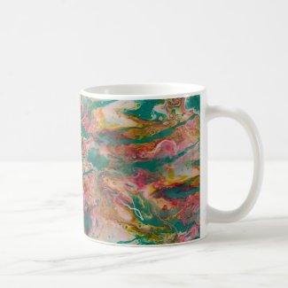 Marbelized Style on Mug in Fluid Aqua, Magenta