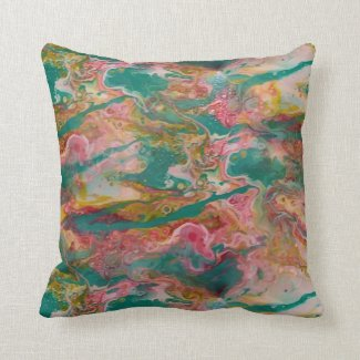 Marbelized Throw Pillow in Fluid Aqua, Magenta