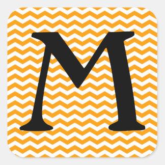 Marbella Orange Wave Chevron Square Sticker