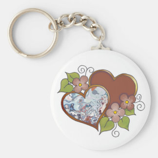 Marble-002 Chocolate Brown & Sky Blue Keychain