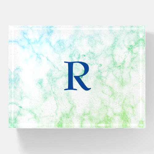 Marble Abstract Blue Green White Monogram Ombre Paperweight