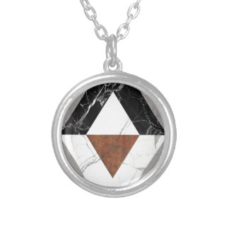 Marble Abstract Round Pendant Necklace