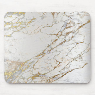 Marble Abstract Silver Gold Gray White Unique Mouse Pad