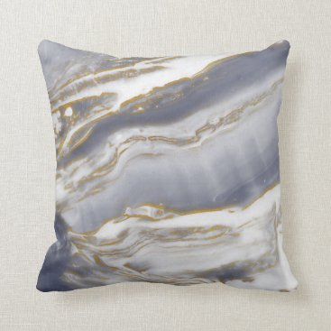 Marble Accent Pillow - Turquoise / Navy & Gold