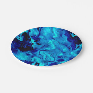 Marble Acrylic Painting in Blue Paper Plate