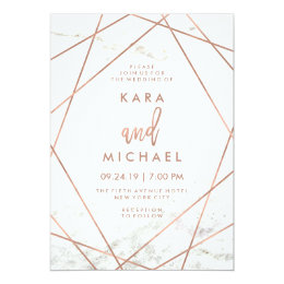 Marble and Faux Rose Gold Geometric Wedding Invite